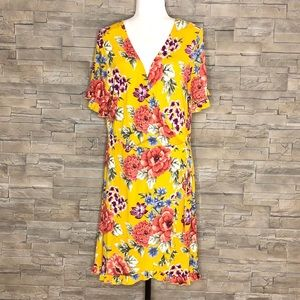 Forever 21 mustard yellow floral dress